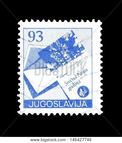 YUGOSLAVIA - CIRCA 1987 : Cancelled postage stamp printed by Yugoslavia, that shows Open envelope and greetings telegram form.