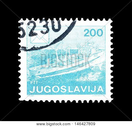 YUGOSLAVIA - CIRCA 1986 : Cancelled postage stamp printed by Yugoslavia, that shows Ship.