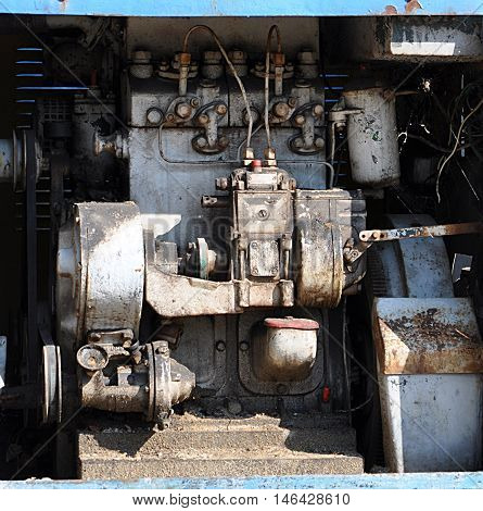view of an old diesel engine on the locomotive