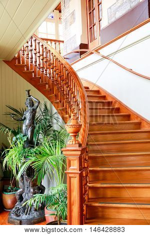 Dunedin, New Zealand - Febr 10, 2015: Gorgeous Wooden Staircase. Larnach Castle