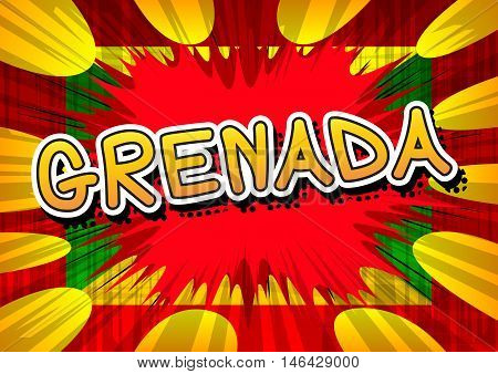 Grenada - Comic book style text on comic book abstract background.