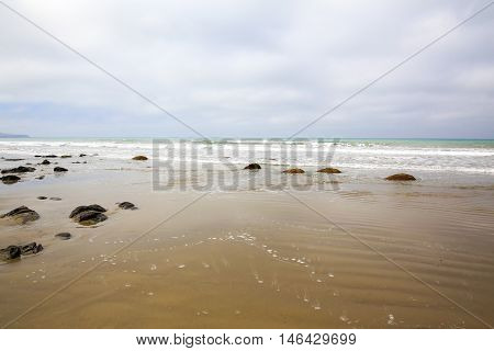 Broken Chunks Of Moeraki Boulders, Pacific Coast, New Zealand