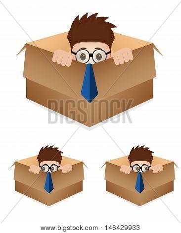 cartoon business man hidding inside the box