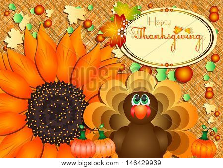 Postcard with turkey pumpkins and big sunflower for congratulations with happy Thanksgiving in scrapbooking style. Vector illustration