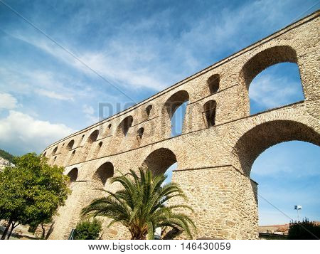 Ancient roman aqueduct in Kavala Greece. Called Kamares.