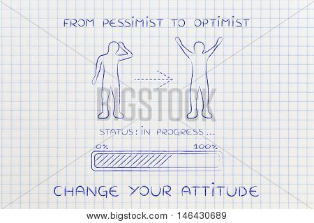 From Pessimist To Optimist: Man Changing Attitude, Progress Bar