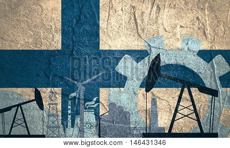 Energy and Power icons set with Finland flag. Sustainable energy generation and heavy industry.