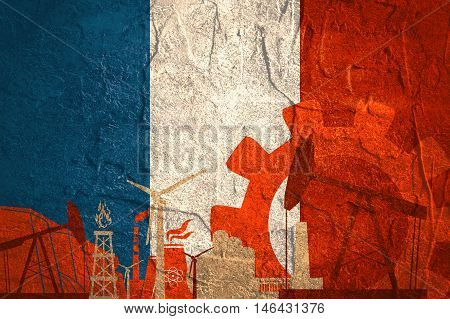 Energy and Power icons set with France flag. Sustainable energy generation and heavy industry.