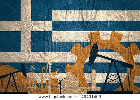 Energy and Power icons set with Greece flag. Sustainable energy generation and heavy industry.