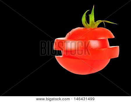 Beautiful Image Closeup of a ripe tomato Isolated on White