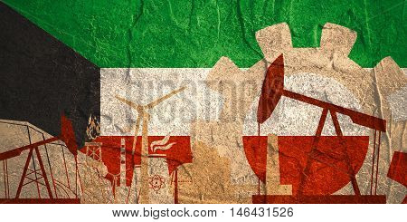 Energy and Power icons set with Kuwait flag. Sustainable energy generation and heavy industry.