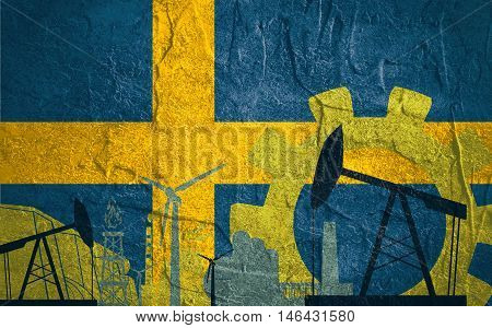 Energy and Power icons set with Sweden flag. Sustainable energy generation and heavy industry.