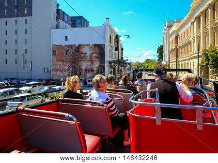 Christchurch, New Zealand - February 15, 2015: City View From Open Top Tour Bus