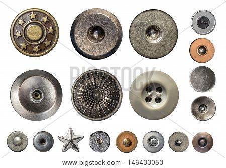 the Various sewing buttons and jeans rivets.