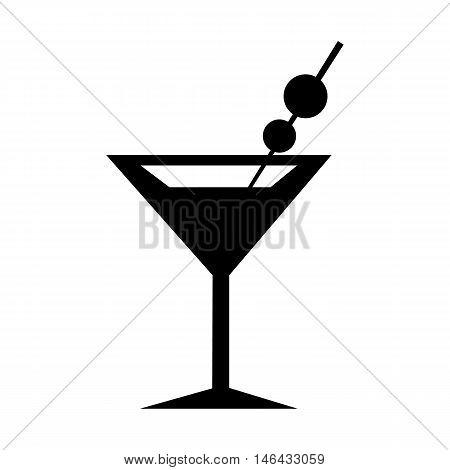 Martini Glass Icon. Flat design silhouette vector illustration