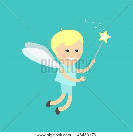 Angel fairy boy . Flying fairy with a magic wand on a blue background