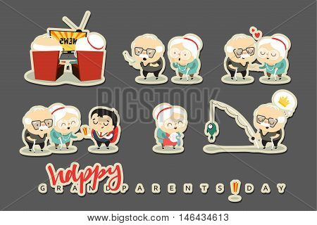 Characters elderly, grandparents. Doodle cute people isolated. National Grandparents Day. Concept for greeting cards. Grandpa fishing, watching TV, grandson gives a gift, Long Life. Funny cartoon