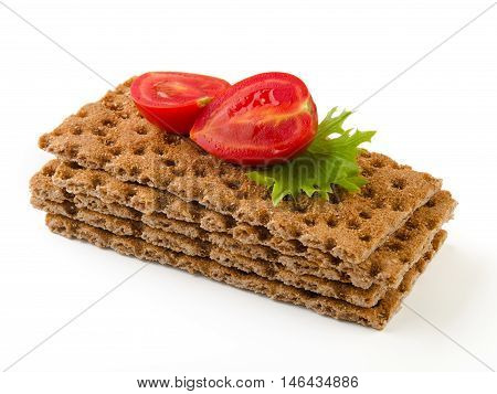 flavor sandwich biscuits with tomatoes on a white background. Health food.