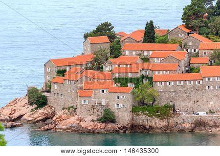 Sveti Stefan islet, hotel resort near Budva, Montenegro