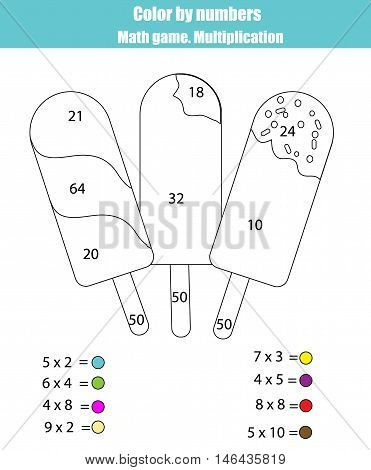 Coloring page with ice cream popsicles. Color by numbers math counting children educational game. For school years kids. Learning mathematics, algebra, multiplication