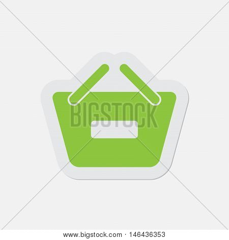 simple green icon with contour and shadow - shopping basket minus on a white background