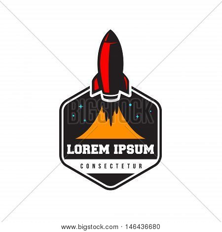 space rocket launch logo, emblem template isolated desicgn on whote background