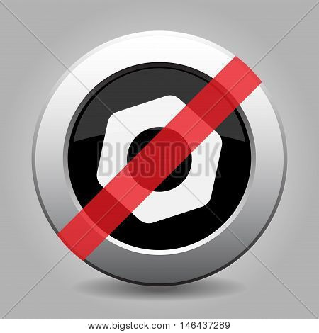 gray chrome button with no nut - banned icon