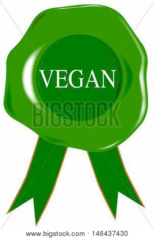 A green wax stamp with vegan as text over white