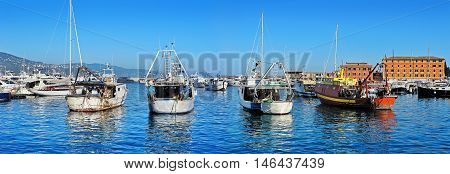 Fishing boats in harbour Santa Margherita, Liguria, Italy