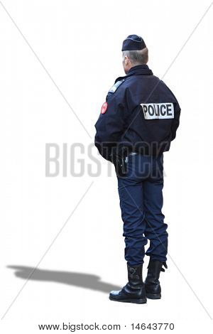 Full body view of a French police officer. Isolated on white.