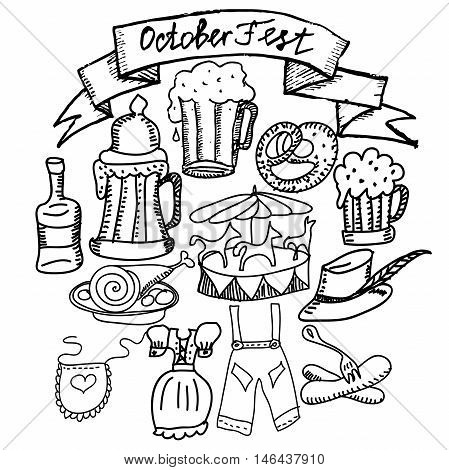 Oktoberfest themed vector set. Bavarian costumes - drindl and lederhosen,carousel, schnapps, pretzel, bratwurst sausage, beer. Hand drawn sketches. Monochrome illustration.