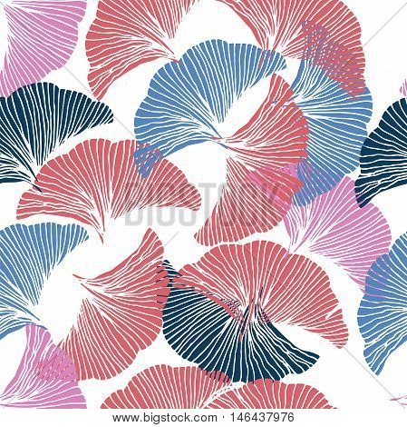 Vector seamless pattern. Hand drawn leaf of Ginkgo Biloba.