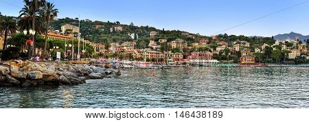 Santa Margherita, Liguria, Italy - August 27, 2016: evening promenade in Santa Margherita, Liguria, Italy Panoramic view of Santa Margherita Ligure, which is popular touristic destination in summer