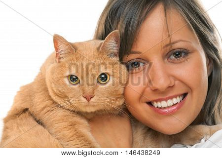 Young woman with pet cat isolated on white background