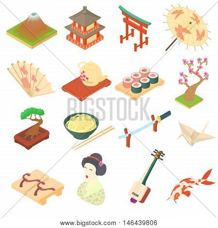 China traditional culture icons set in cartoon style. Travel attraction elements set collection vector illustration