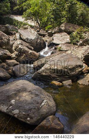 Stones Condo, Waterfall In Sunny Day - Serra Da Canastra National Park - Minas Gerais, Brazil