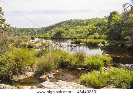Beautiful Lake In Sunny Day Formed By Waterfalls - Serra Da Canastra National Park - Minas Gerais, B