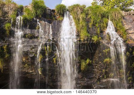 Beautiful Waterfall In Sunny Day - Serra Da Canastra National Park - Minas Gerais, Brazil