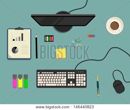 Top view of a desk background, where there is a monitor, keyboard, computer mouse, office elements, stationery and cup of coffee
