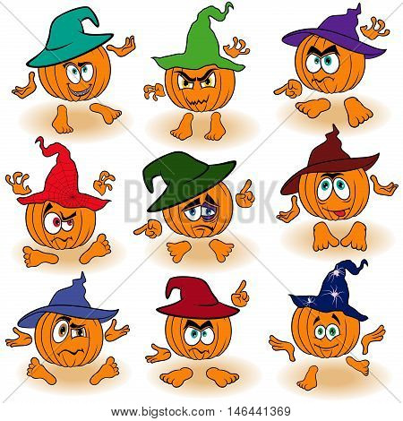Set Of Gesticulating Pumpkins In Hats