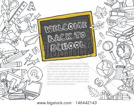 Back To School Frame Border Pattern Of Kids Doodles With Bus, Bo