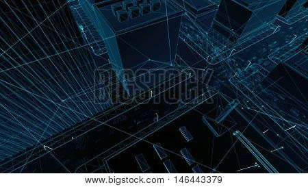 Abstract 3D City Rendering With Lines And Digital Elements. Digital Skyscrappers With Wire Texture A