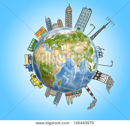 Planet Earth with drawn houses, skyscrapers, factories, cars and buildings around it. Ecological problems. Air pollution. Environmental crisis. Big city life.