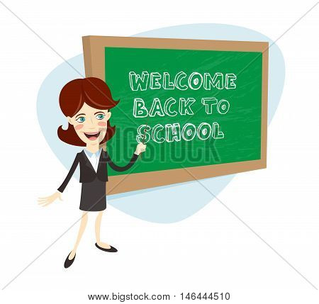 Funny School Female Teacher Or Univercity Professor With Pointer Teaching In Front Of Chalkboard (bl