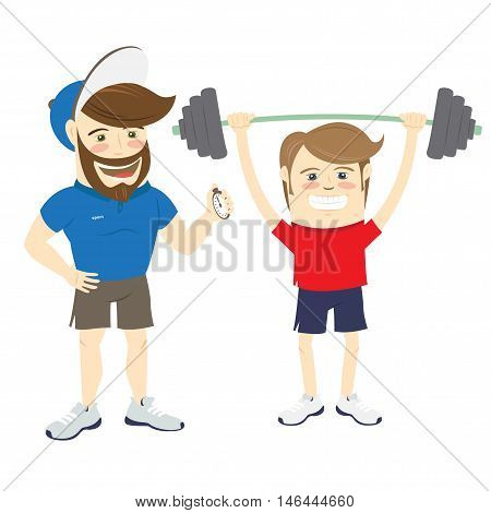Bearded Fitness Personal Trainer Instructor And Funny Sportsman Doing Lifting Barbell Exercises