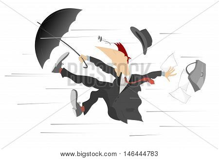 Windy day. Man caught up by the wind, is trying to keep the umbrella and bag