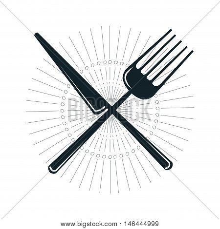 knife and fork crossed. dinner silverware utensil. vector illustration