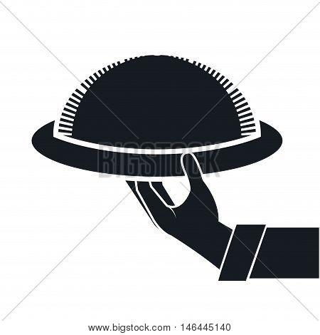 waiter hand holding a restaurant metal platter. silhouette vector illustration