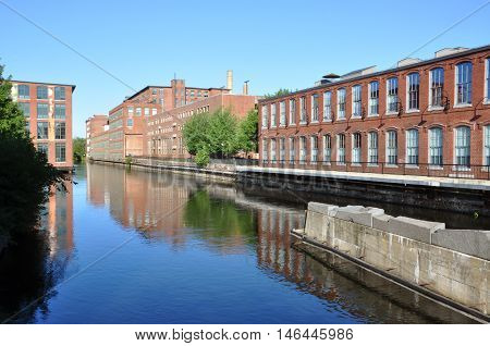 Lowell Canal in National Historic Park, Lowell, Massachusetts, USA