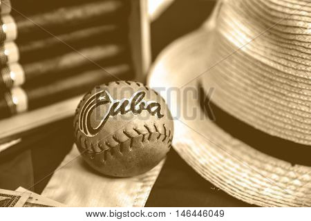 Table with cuban items, retro style